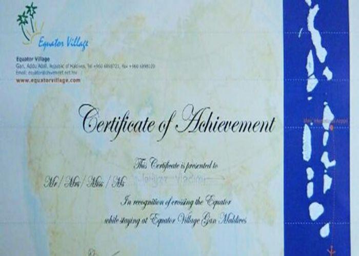 Cувеніри, Сертифікат про перетин екватора, Мальдіви